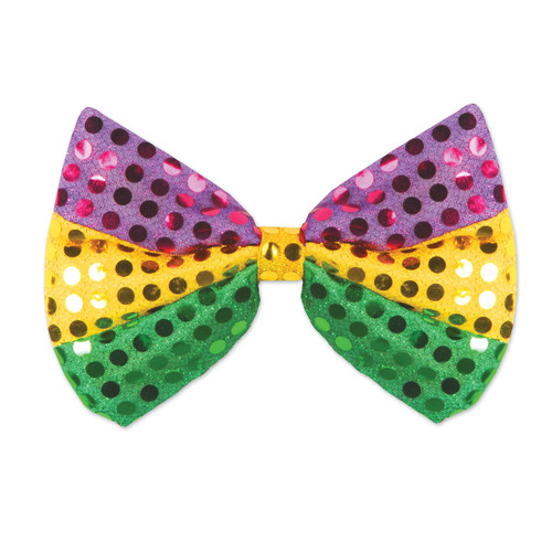 Mardi Gras Glitz N Gleam Bowtie Bow tie Green Gold Purple