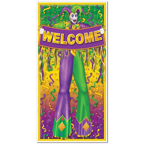 Mardi Gras Door Cover Jester 5 ft x 30 in