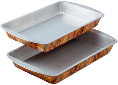 Wilton 2 Pc Fall 11 x 7 Oblong Pan Set  Non Stick Tin Steel Leaf and Fern