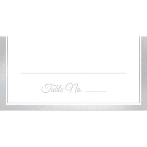 Place Cards 50 Ct Placecard White Silver Trim 4x4 Wedding Anniversary