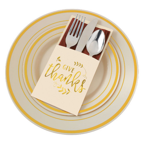 Give Thanks 12 pc Thanksgiving Utensil Silverware Cutlery Holder
