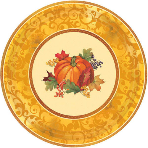 "Bountiful Holiday 8 Ct 12"" Dinner Banquet Plates Paper Fall Thanksgiving"