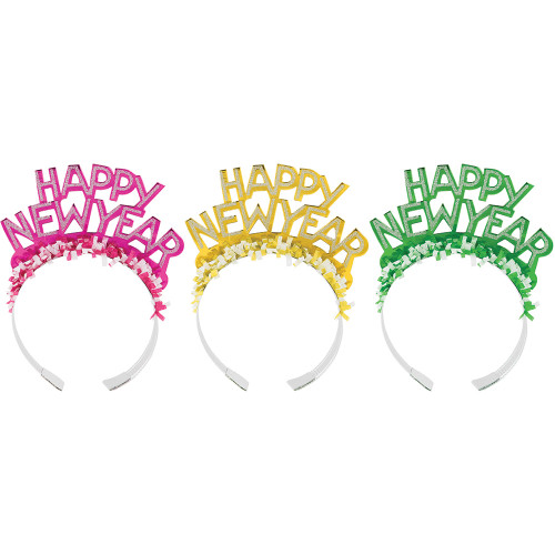 1 Assorted Random Color Foil Glitter Tiaras Fringe Party New Years Eve