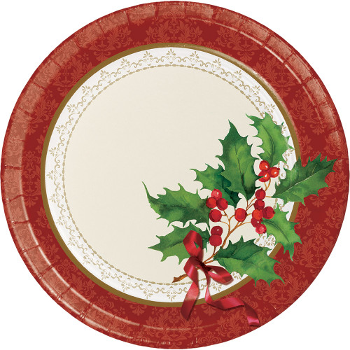 "Holly and Berries Sprig Holiday Traditions 8 Ct 9"" Dinner Plates"