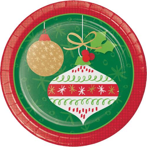 "Glittering Vintage Ornaments 8 Ct Paper 7"" Dessert Cake Plates"