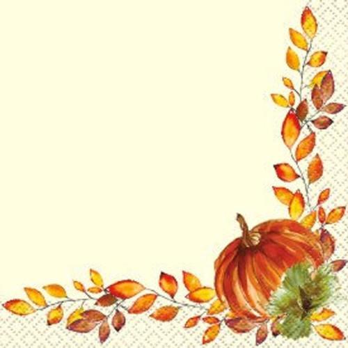 Watercolor Fall Pumpkin 16 Ct Beverage Napkins