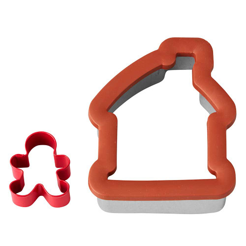 2 Pc Gingerbread House and Boy Comfort Grip Cookie Cutter Wilton Christmas