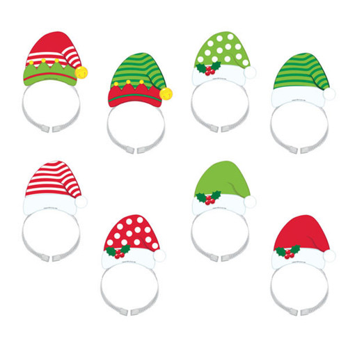 Santa and Elf Hat Headbands 8 Per Package
