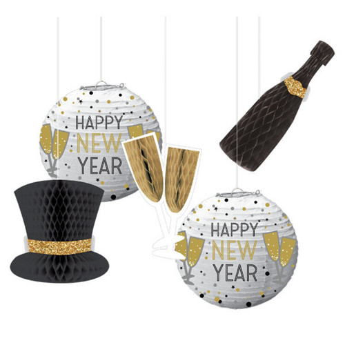 New Years Eve Honeycomb Hanging Decorations 5 Pc
