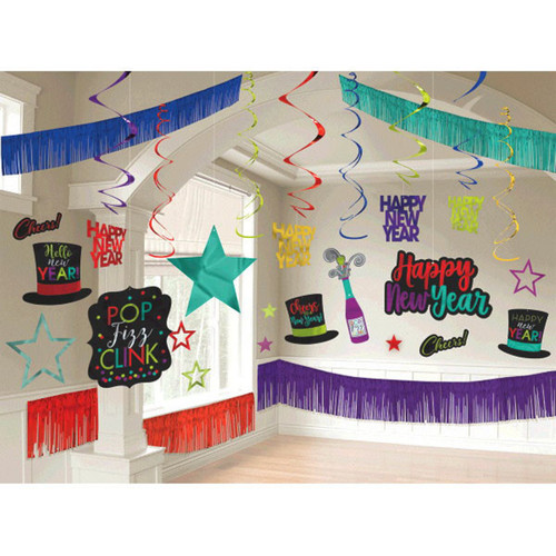New Years Eve Giant Room Decorating Kit 28 Piece Jewel Tone Colors