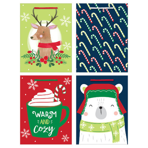 4 Christmas Gift Bags with Tags 8 x 6 x 3 inches Value Pack
