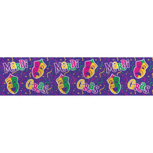 Mardi Gras Purple Comedy Tragedy Metallic Foil Fringe Banner 4 ft