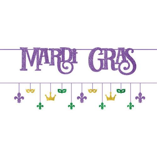 Mardi Gras Ribbon Banner Set of 2,  12 ft Paper and Glitter