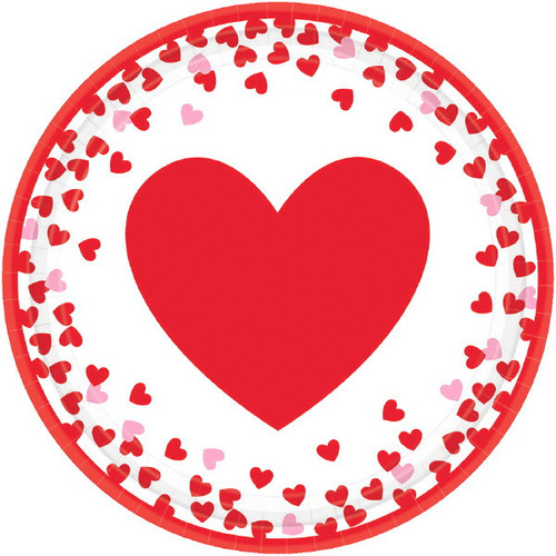 Confetti Hearts Valentines Day 8 Ct  7 in Paper Cake Dessert Plates