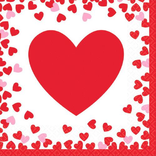 Confetti Hearts Valentines Day 16 Ct Lunch Napkins