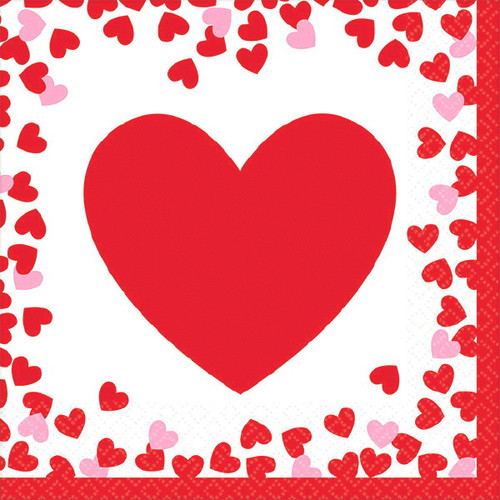 Confetti Hearts Valentines Day 16 Ct Beverage Napkins