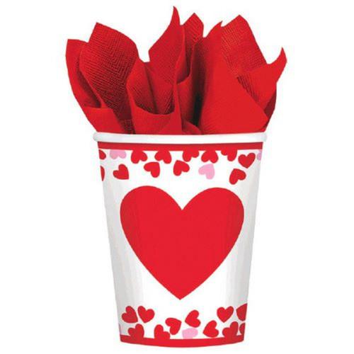 Confetti Hearts Valentines Day 8 Ct 9 oz Paper Cups
