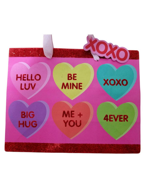 Valentines Day Candy Heart Gift Bag with Tag 7 x 9 x 4 inch