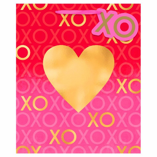 Valentines Day Large Gold Hot Stamped Heart Gift Bag with Tag 12x10x5