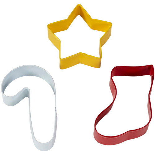 Wilton Christmas Stocking Star Candy Cane Metal Cookie Cutter 3 Pc Set