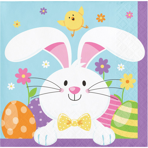 Easter Bunny 16 Ct Beverage Napkins 2 Ply Paper