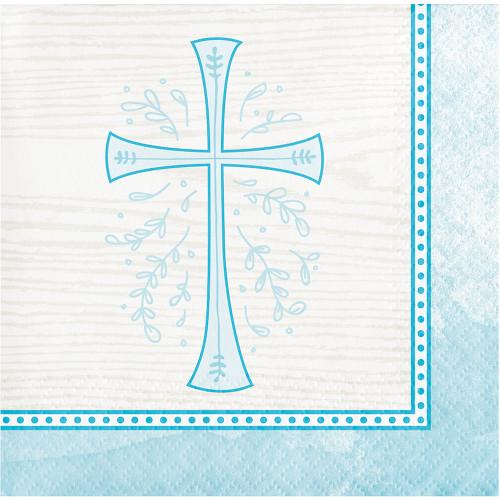 Divinity Blue Cross 16 Ct Beverage Napkins Baptism Confirmation Communion Christening