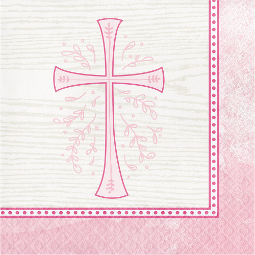 Divinity Pink Cross 16 Ct Lunch Napkins Baptism Confirmation Communion Christening