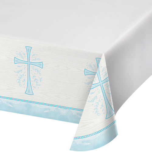 Divinity Blue Cross Plastic Tablecover Baptism Confirmation Communion Christening