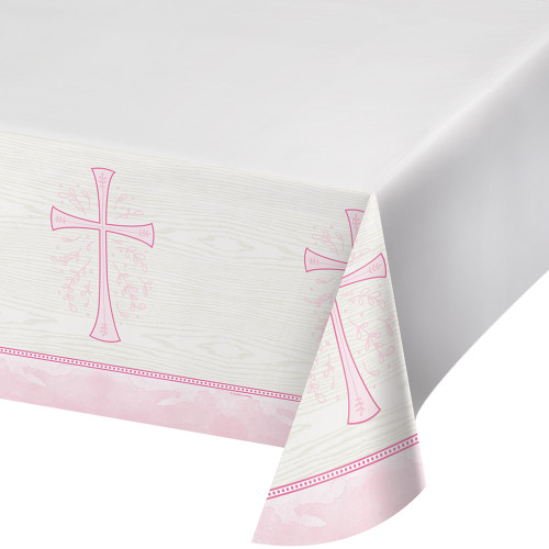 Divinity Pink Cross Plastic Tablecover Baptism Confirmation Communion Christening
