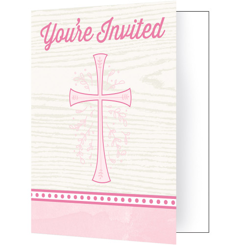 Divinity Pink Cross 8 Ct Invitations Baptism Confirmation Communion Christening