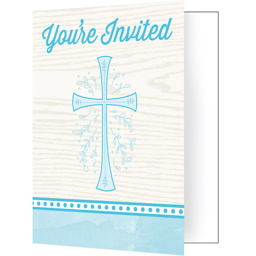 Divinity Blue Cross 8 Ct Invitations Baptism Confirmation Communion Christening