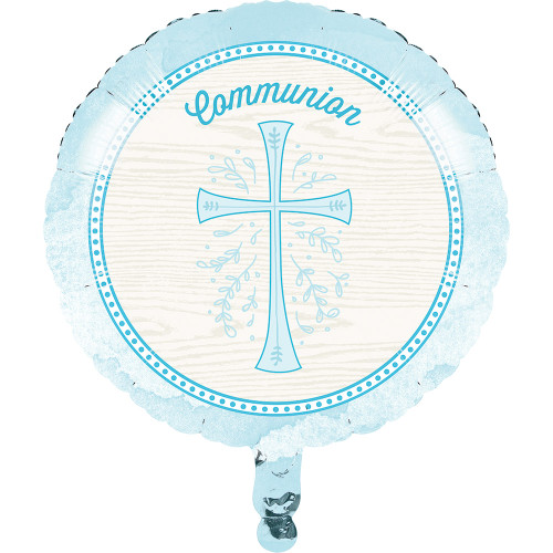 "Divinity Blue Cross Metallic Foil Mylar Balloon 18"" Communion"
