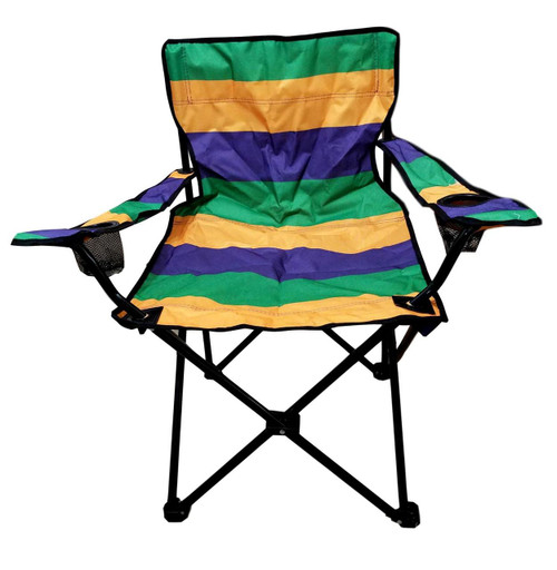Mardi Gras Purple Green Yellow Folding Camping Parade Chair with Case