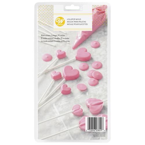 Wilton Valentines Heart Lollipop Candy Melts Mold 3 sizes 10 Cavity