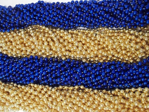 Blue and Gold Mardi Gras Beads Necklaces Party Favors Rams Superbowl