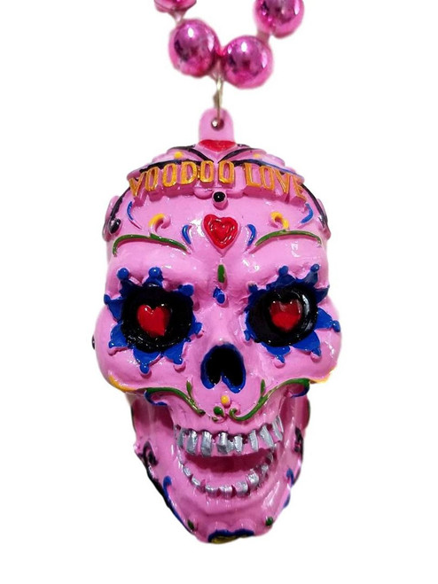 Hot Pink Voodoo Love Sugar Skull Mardi Gras Beads Party Favor Necklace