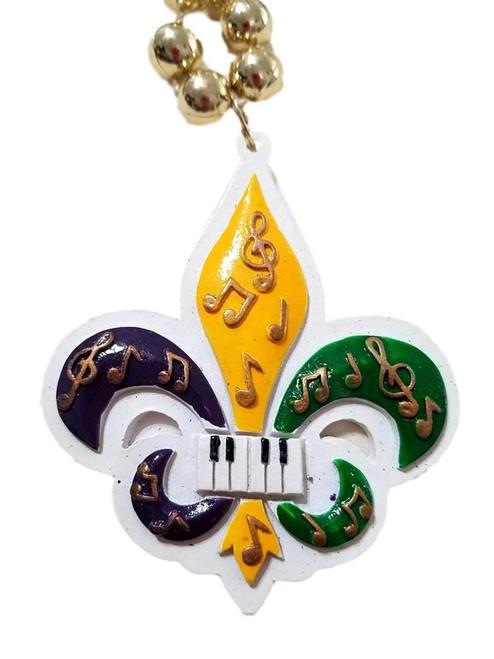 Purple Green Gold Music Fleur De Lis Mardi Gras Beads Party Favor Necklace