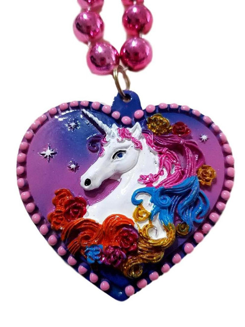 Unicorn Heart Valentines Mardi Gras Beads Party Favor Necklace