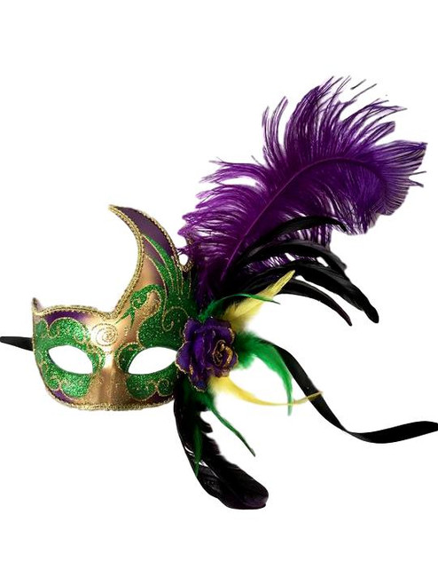 Purple Green Gold Fancy Lady Feather Flower Masquerade Party Mardi Gras Mask