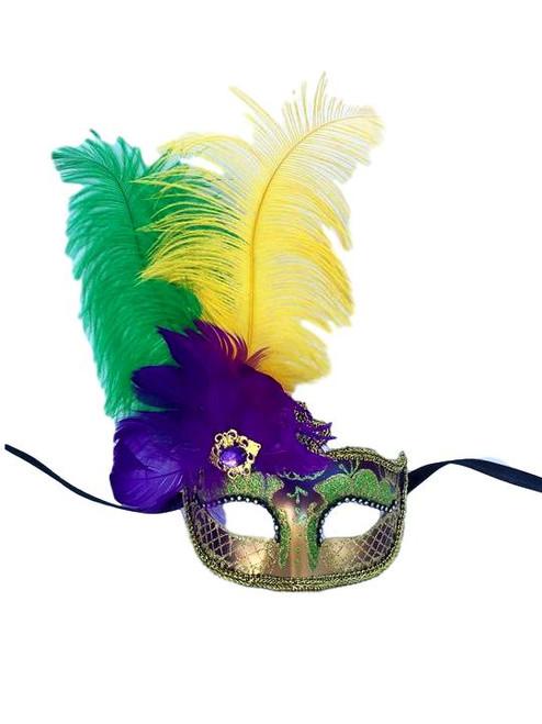 "Purple Green Gold Venetian Mask Feather Masquerade Mardi Gras 12"" New"