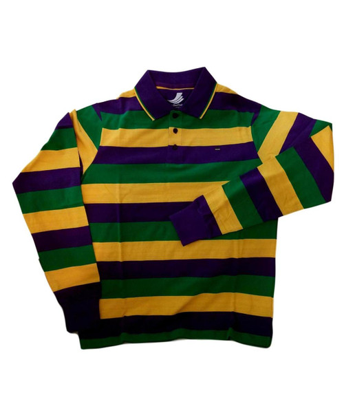 Adult 4X Mardi Gras Rugby Stripe Purple Green Yellow Long Slv Shirt