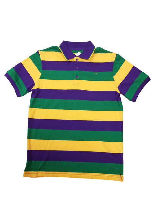 Adult 4X Mardi Gras Rugby Stripe Purple Green Yellow Knit SS Shirt