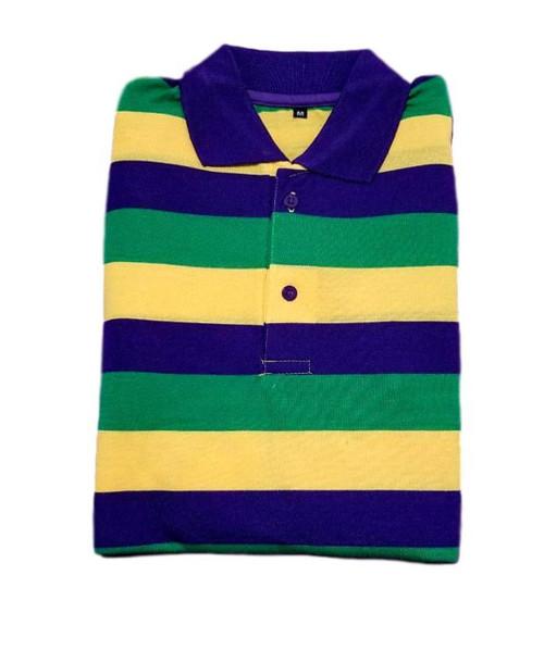 5542c7038 Adult 2X Mardi Gras Rugby Stripe Purple Green Yellow Long Sleeve Shirt