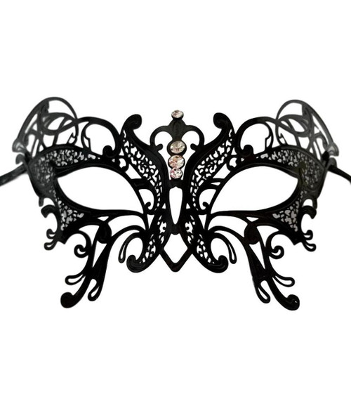 Butterfly Black Masquerade Mardi Gras Crystal and Metal Filigree