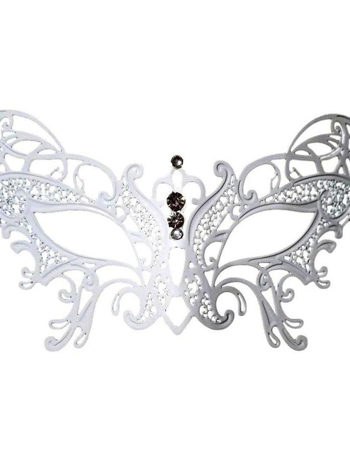 Butterfly White Masquerade Mardi Gras Crystal and Metal Filigree