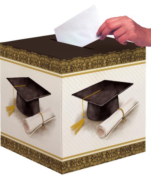Classic Black and Gold Cap and Diploma Graduation Card Box 12 x 12