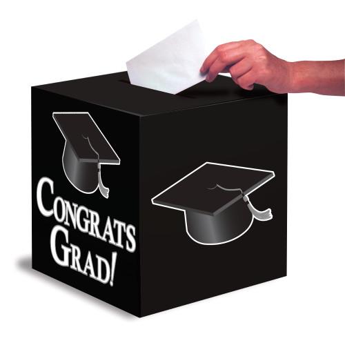 """Black White 9 x 9 """"Congrats Grad"""" Graduation Card Box"""