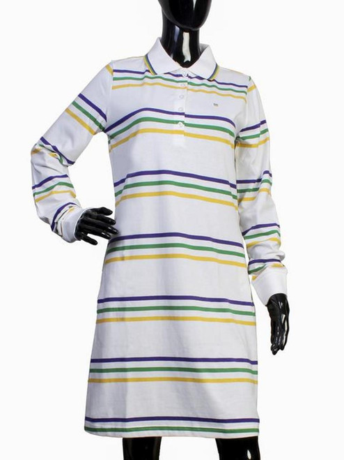 Womens Large White Mardi Gras 2 Pocket Dress Purple Green Gold Stripe