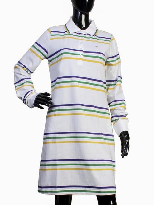 Womens Small White Mardi Gras 2 Pocket Dress Purple Green Gold Stripe