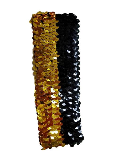 Sequin Black Gold Elastic Headband